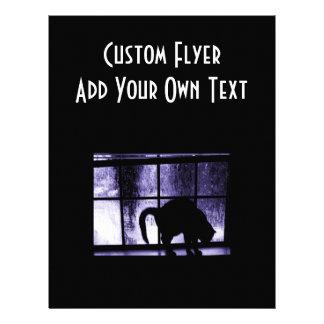 Oktober duschar kattsilhouetten på indigoblått för custom flyer