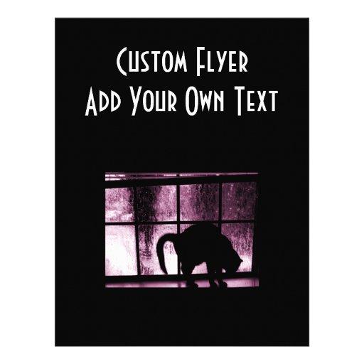 Oktober duschar kattsilhouetten på rosor för fönst flygblad designs
