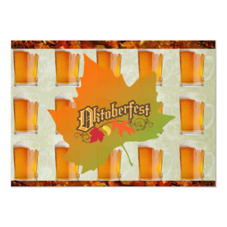 Oktoberfestöl rånar höst löv 12,7 x 17,8 cm inbjudningskort