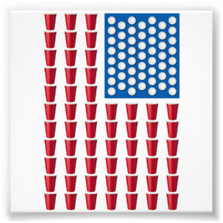 Öl Pong som dricker den modiga amerikanska flaggan Fototryck