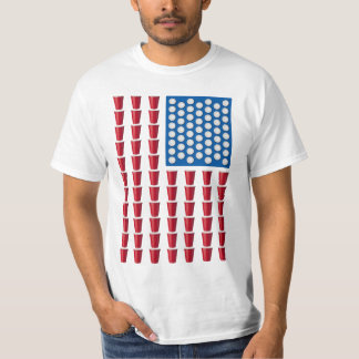 Öl Pong som dricker den modiga amerikanska flaggan T Shirts