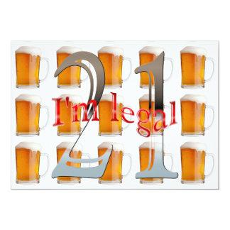 Öl rånar den lagliga   21st födelsedagsfesten för 12,7 x 17,8 cm inbjudningskort