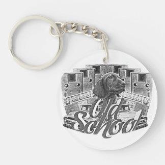 Old school rund enkelsidig nyckelring i akryl