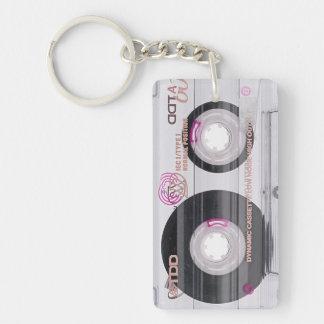 Old schoolkassetten tejpar rektangulärt dubbelsidigt nyckelring i akryl