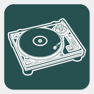 Old schoolvax/Turntable Fyrkantigt Klistermärke