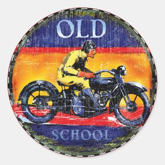 Old schoolvintagemotorcyklar runt klistermärke
