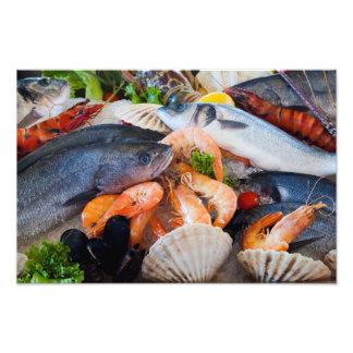 Olik skaldjur fototryck