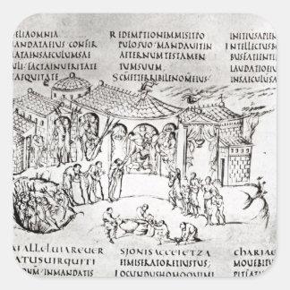 Olika platser som illustrerar en psalm fyrkantigt klistermärke