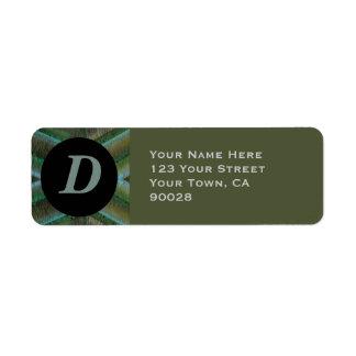 Oliv grönt grå färgmonogram returadress etikett