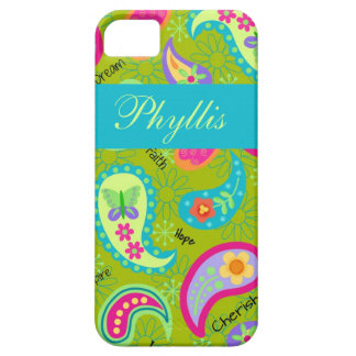 Oliv grönt modern & moderiktig Paisley personlig Barely There iPhone 5 Fodral