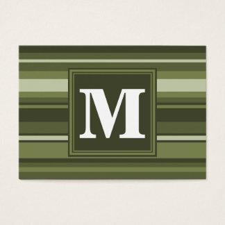 Oliv grönt randar för Monogram Visitkort