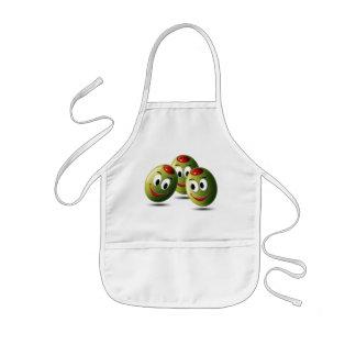 Oliv som fylls med leende barnförkläde