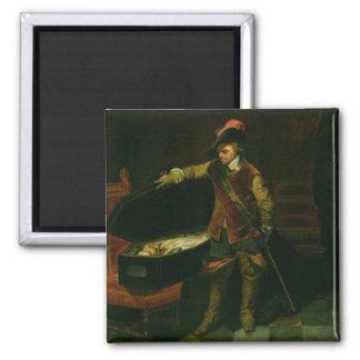 Oliver Cromwell med kistan av Charles mig Magnet