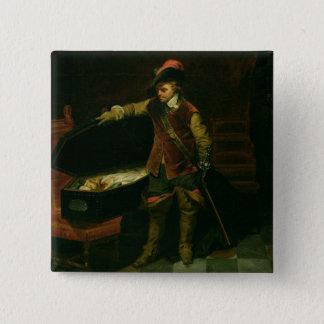 Oliver Cromwell med kistan av Charles mig Standard Kanpp Fyrkantig 5.1 Cm