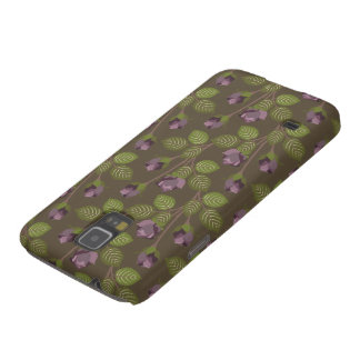 Olivgrön nätt Nexus för lila blommorSamsung galax Galaxy S5 Fodral