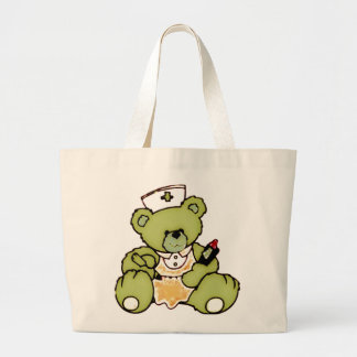 Olivgrön sjuksköterskabjörn jumbo tygkasse