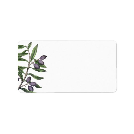 Olivgröna gröna lilor för trädgren | adressetikett