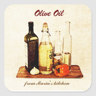 Olivolja - grönsakoljaflaskor med veggies fyrkantigt klistermärke