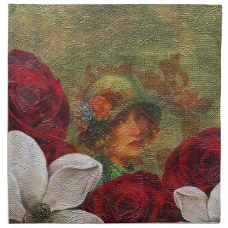 Olja målar vintagekvinnablommor tygservett