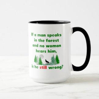 Om en man talar i den festliga skogen, råna mugg