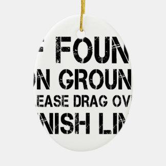 Om funnit på slipat, behaga friktion över mållinje julgransprydnad keramik