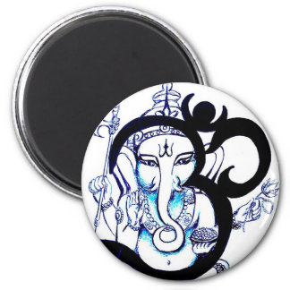OM - Ganesha Magnet Rund 5.7 Cm