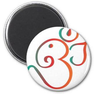 Om-ganpati-grönt-orange Magnet Rund 5.7 Cm