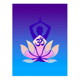 Om-lotusblommaYoga poserar purpurfärgad ton Vykort