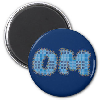 Om-magnet - blåttpläd - Yogaparty favors Magnet Rund 5.7 Cm