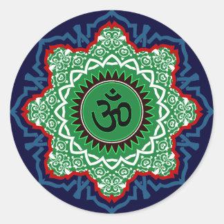 Om-Mandala Runt Klistermärke