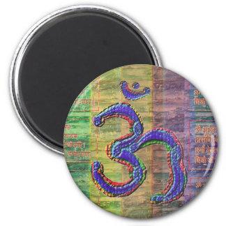 OM-Mantra Gayatri-Mantra tillsammans Magnet Rund 5.7 Cm
