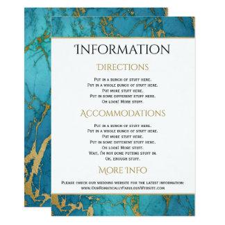 Om marmorbröllop för blått specificerar guld- 11,4 x 15,9 cm inbjudningskort