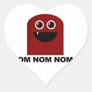 Om Nom Nom Cutie Hjärtformat Klistermärke