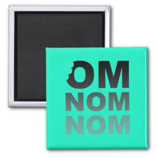 Om Nom Nom - Mat-Älskare favorit, grått och kricka Kylskåpmagneter