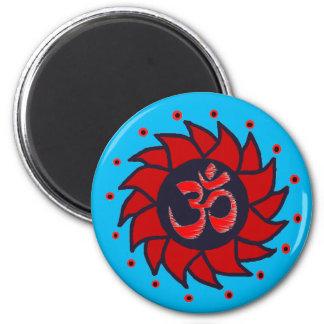 Om och röd Pinwheel - Yogamagneter Magnet Rund 5.7 Cm