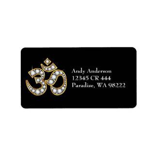 """Om-symbol med """"diamant"""" stenar adressetikett"""