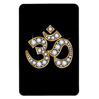 """Om-symbol med """"diamant"""" stenar fotomagnet rektangulär"""