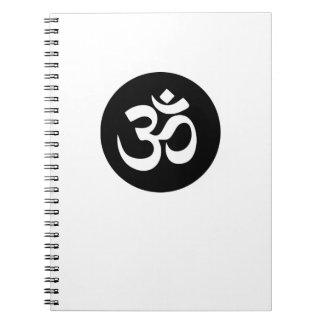 Om-symbolet cirklar den spiral anteckningsboken anteckningsbok med spiral