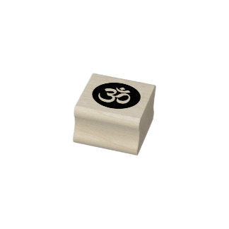 Om-symbolet cirklar det Rubber frimärket Stämpel