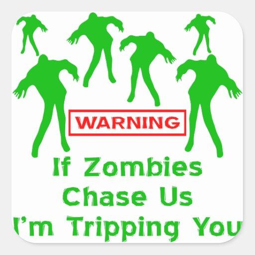 Om Zombies jagar oss I-förmiddagen som snubblar di Fyrkantiga Klistermärken