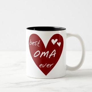 Oma för röd hjärta bäst någonsin T-tröja och gåvor Två-Tonad Mugg