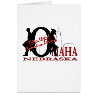 Omaha Nebraska stad hårt, starkt land Hälsningskort