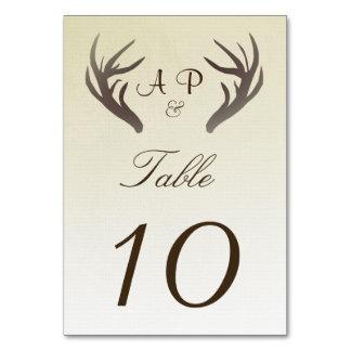 Ombre för horn på kronhjortbordsnummerkort beige bordsnummer