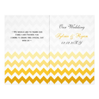 Ombre gul sparre vikt bröllopsprogram flygblad designs
