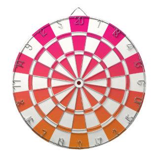 Ombre rosa orange och vit piltavla