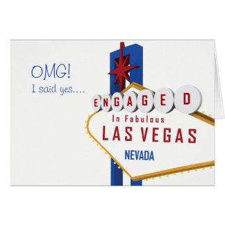 OMG! Jag sade ja. Förlovat i det Las Vegas kortet Hälsningskort