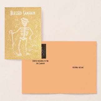 Omkullkasta antika skelett- Samhain Folierat Kort