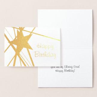 Omkullkasta det glänsande stjärnafödelsedagkortet folierat kort
