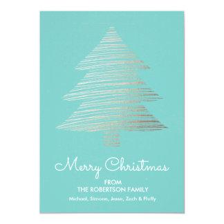 Omkullkasta det randiga julgranhelgdagkortet 12,7 x 17,8 cm inbjudningskort