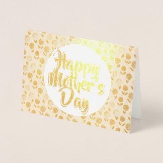 Omkullkastar blom- guld för den lyckliga mors dag folierat kort